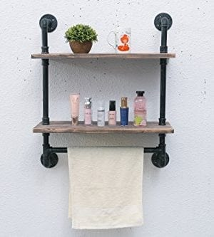 MBQQ Industrial Pipe Bathroom Shelf Wall Mounted With Towel Bar 24 Wood Shelves Organizer Towel Racks 0 300x333
