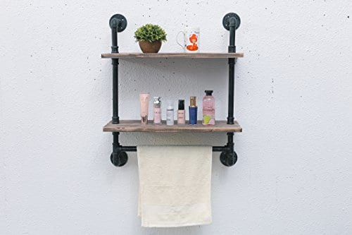 Industrial Pipe Shelf Rustic Wall Shelf With Towel Bar 24 Towel
