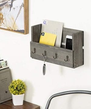 MyGift Rustic Wood Wall Mounted Mail Holder Organizer With 4 Key Hooks 0 0 300x360
