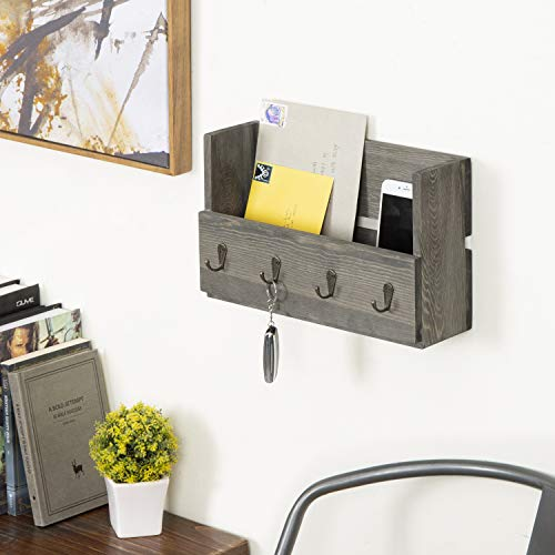 MyGift Rustic Wood Wall Mounted Mail Holder Organizer With 4 Key Hooks 0 0