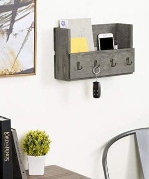 MyGift Rustic Wood Wall Mounted Mail Holder Organizer With 4 Key Hooks 0 1 300x360