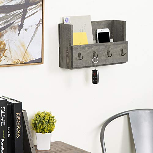 MyGift Rustic Wood Wall Mounted Mail Holder Organizer With 4 Key Hooks 0 1