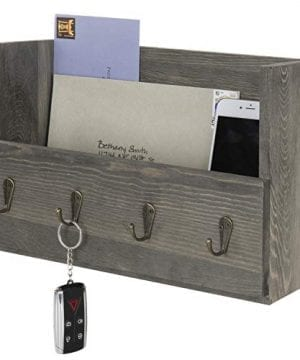 MyGift Rustic Wood Wall Mounted Mail Holder Organizer With 4 Key Hooks 0 300x360