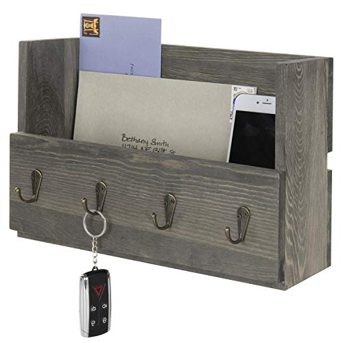 MyGift Rustic Wood Wall Mounted Mail Holder Organizer With 4 Key Hooks 0
