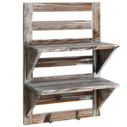 MyGift Rustic Wood Wall Mounted Organizer Shelves W 2 Hooks 2 Tier Storage Rack Brown 0 0