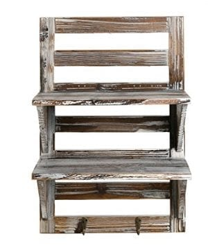 MyGift Rustic Wood Wall Mounted Organizer Shelves W 2 Hooks 2 Tier Storage Rack Brown 0 1 300x360