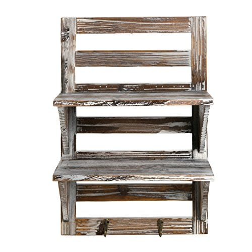 MyGift Rustic Wood Wall Mounted Organizer Shelves W 2 Hooks 2 Tier Storage Rack Brown 0 1