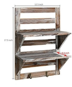 MyGift Rustic Wood Wall Mounted Organizer Shelves W 2 Hooks 2 Tier Storage Rack Brown 0 2 300x360