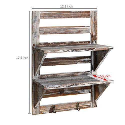MyGift Rustic Wood Wall Mounted Organizer Shelves W 2 Hooks 2 Tier Storage Rack Brown 0 2