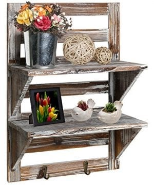 MyGift Rustic Wood Wall Mounted Organizer Shelves W 2 Hooks 2 Tier Storage Rack Brown 0 300x360