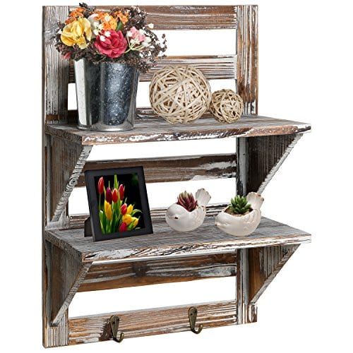 MyGift Rustic Wood Wall Mounted Organizer Shelves W 2 Hooks 2 Tier Storage Rack Brown 0