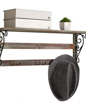 MyGift Wall Mounted 23 Inch Rustic Wood Shelf With Iron Scrollwork Brackets 3 Key Hooks 0 0 300x360