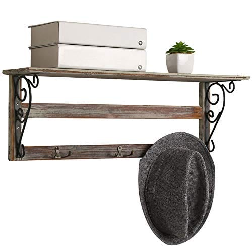 MyGift Wall Mounted 23 Inch Rustic Wood Shelf With Iron Scrollwork Brackets 3 Key Hooks 0 0