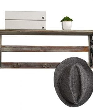 MyGift Wall Mounted 23 Inch Rustic Wood Shelf With Iron Scrollwork Brackets 3 Key Hooks 0 2 300x360