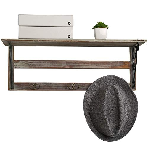 MyGift Wall Mounted 23 Inch Rustic Wood Shelf With Iron Scrollwork Brackets 3 Key Hooks 0 2