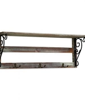 MyGift Wall Mounted 23 Inch Rustic Wood Shelf With Iron Scrollwork Brackets 3 Key Hooks 0 3 300x360
