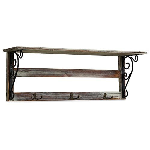 MyGift Wall Mounted 23 Inch Rustic Wood Shelf With Iron Scrollwork Brackets 3 Key Hooks 0 3