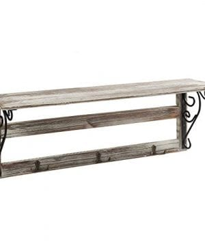 MyGift Wall Mounted 23 Inch Rustic Wood Shelf With Iron Scrollwork Brackets 3 Key Hooks 0 300x360