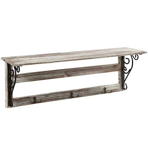 MyGift Wall Mounted 23 Inch Rustic Wood Shelf With Iron Scrollwork Brackets 3 Key Hooks 0