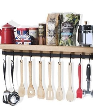 Rustic State Wall Mounted Decorative Kitchen Ledge Shelf With Rail And 10 Hooks Wood 0 1 300x360