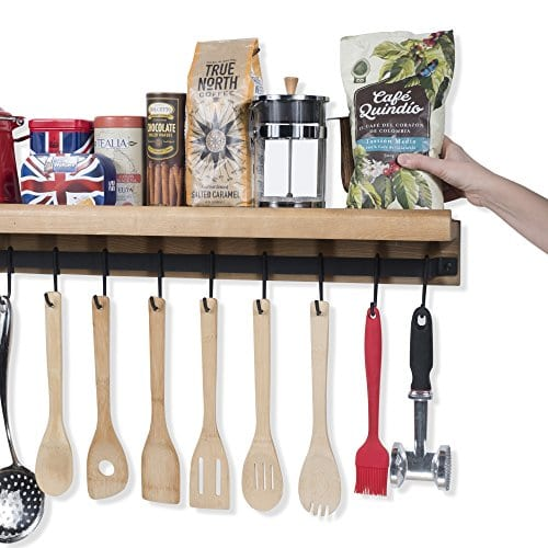 Rustic State Wall Mounted Decorative Kitchen Ledge Shelf With Rail And 10 Hooks Wood 0 2