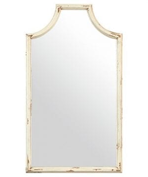Stone Beam Curved Vintage Look Wood Frame Mirror 28H White 0 300x360