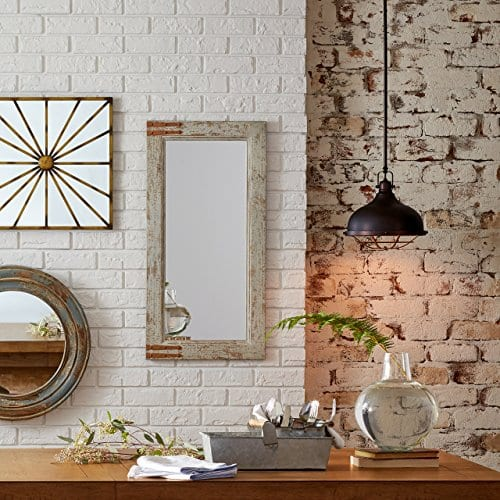 Stone Beam Vintage Look Rectangular Frame Mirror 3625H Grey 0 0