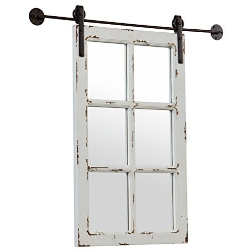 Stone Beam Vintage Look Sliding Window Mirror 3275H White 0 1