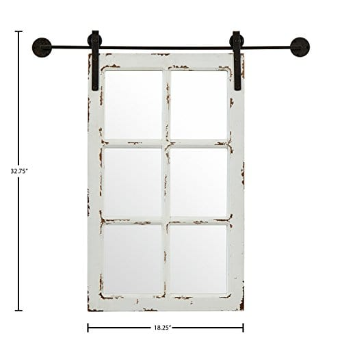 Stone Beam Vintage Look Sliding Window Mirror 3275H White 0 2