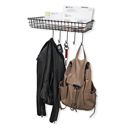 WALL35 Entryway Organizer Farmhouse Rustic Decor Wall Mounted Coat Rack Metal Wire Basket With Key Hooks Black 0 2