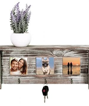 Wall Mounted Rustic Torched Wood Entryway Photo Frame Shelf With 3 Key Hooks 0 0 300x360