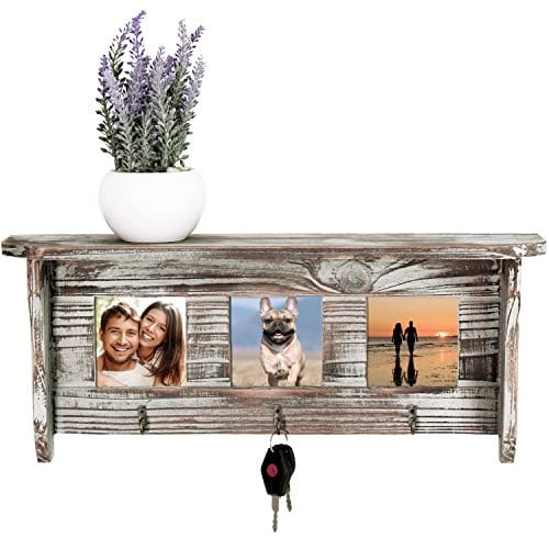 Wall Mounted Rustic Torched Wood Entryway Photo Frame Shelf With 3 Key Hooks 0 0