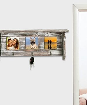 Wall Mounted Rustic Torched Wood Entryway Photo Frame Shelf With 3 Key Hooks 0 1 300x360