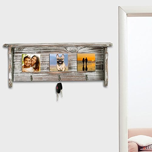 Wall Mounted Rustic Torched Wood Entryway Photo Frame Shelf With 3 Key Hooks 0 1