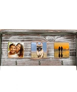 Wall Mounted Rustic Torched Wood Entryway Photo Frame Shelf With 3 Key Hooks 0 2 300x360
