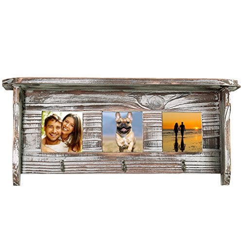 Wall Mounted Rustic Torched Wood Entryway Photo Frame Shelf With 3 Key Hooks 0 2