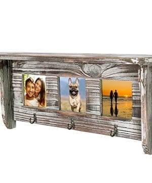 Wall Mounted Rustic Torched Wood Entryway Photo Frame Shelf With 3 Key Hooks 0 3 300x360