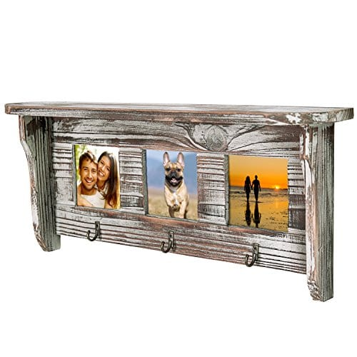 Wall Mounted Rustic Torched Wood Entryway Photo Frame Shelf With 3 Key Hooks 0 3