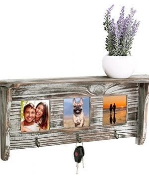 Wall Mounted Rustic Torched Wood Entryway Photo Frame Shelf With 3 Key Hooks 0 300x360