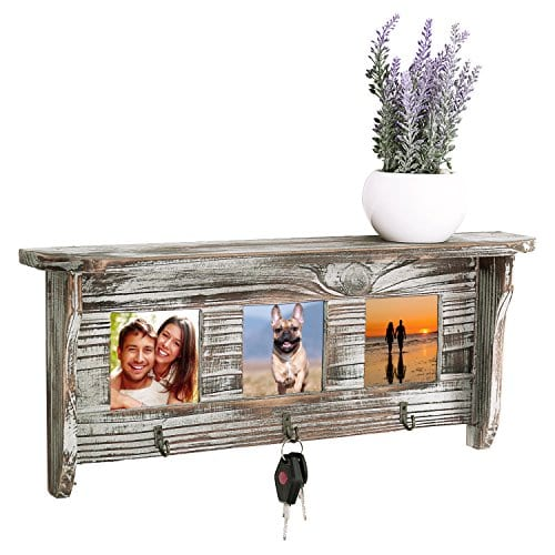 Wall Mounted Rustic Torched Wood Entryway Photo Frame Shelf With 3 Key Hooks 0