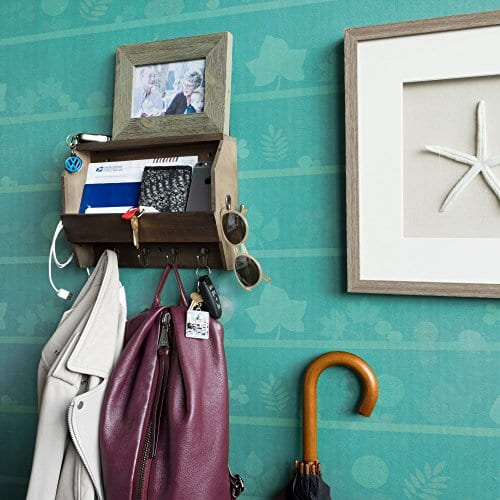 Wallniture Entryway Dcor Mail Holder Shelf Coat Rack With 8 Hooks Wood Walnut 12 Inches Long 0 0