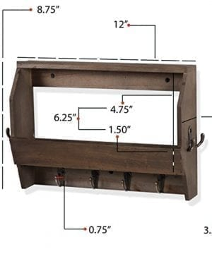 Wallniture Entryway Dcor Mail Holder Shelf Coat Rack With 8 Hooks Wood Walnut 12 Inches Long 0 3 300x360