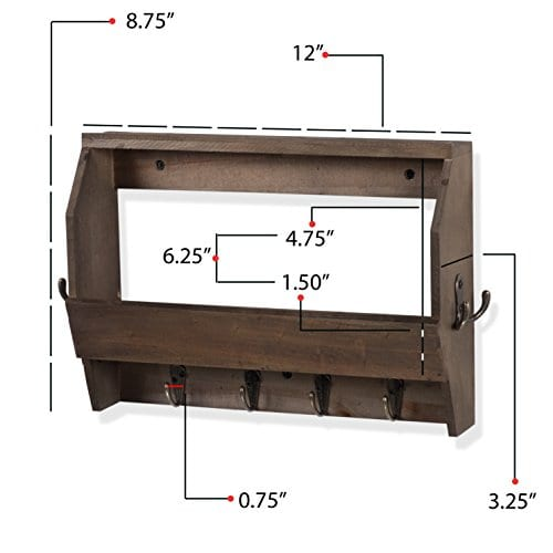 Wallniture Entryway Dcor Mail Holder Shelf Coat Rack With 8 Hooks Wood Walnut 12 Inches Long 0 3