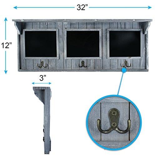 XL 32 Entryway Chalkboard With Hooks For Coats Key Holder Etc Distressed Rustic Gray Wood Framed Hanging Chalk Board Organizer Wall Decor 3 Display Shelf 0 0