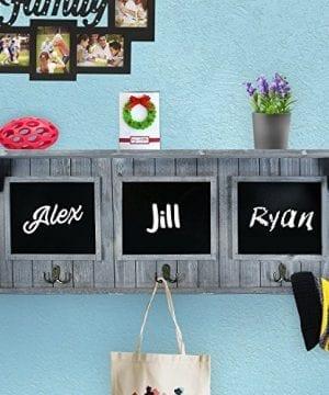 XL 32 Entryway Chalkboard With Hooks For Coats Key Holder Etc Distressed Rustic Gray Wood Framed Hanging Chalk Board Organizer Wall Decor 3 Display Shelf 0 1 300x360