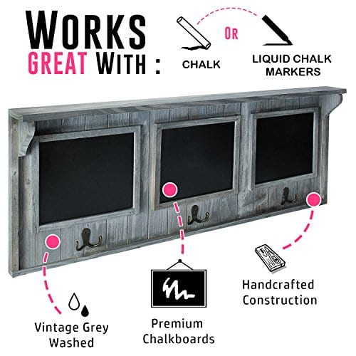 XL 32 Entryway Chalkboard With Hooks For Coats Key Holder Etc Distressed Rustic Gray Wood Framed Hanging Chalk Board Organizer Wall Decor 3 Display Shelf 0 2