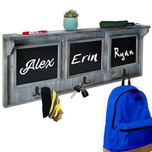 XL 32 Entryway Chalkboard With Hooks For Coats Key Holder Etc Distressed Rustic Gray Wood Framed Hanging Chalk Board Organizer Wall Decor 3 Display Shelf 0
