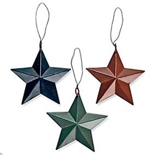 24 Tin Barn Star Ornaments Christmas Tree Set Lot Primitive Country Rustic 0