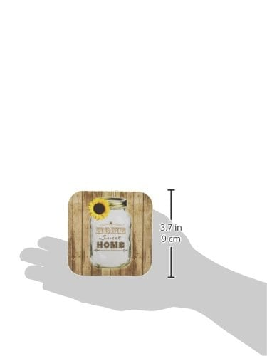3dRose Cst1285551 Country Rustic Mason Jar With Sunflower Home Sweet Home Soft Coasters Set Of 4 0 0