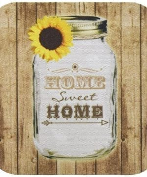 3dRose Cst1285551 Country Rustic Mason Jar With Sunflower Home Sweet Home Soft Coasters Set Of 4 0 300x360